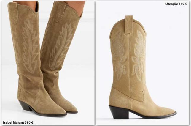 Botas estilo cowboy de Isabel Marant vs. botas con bordados de Uterqüe