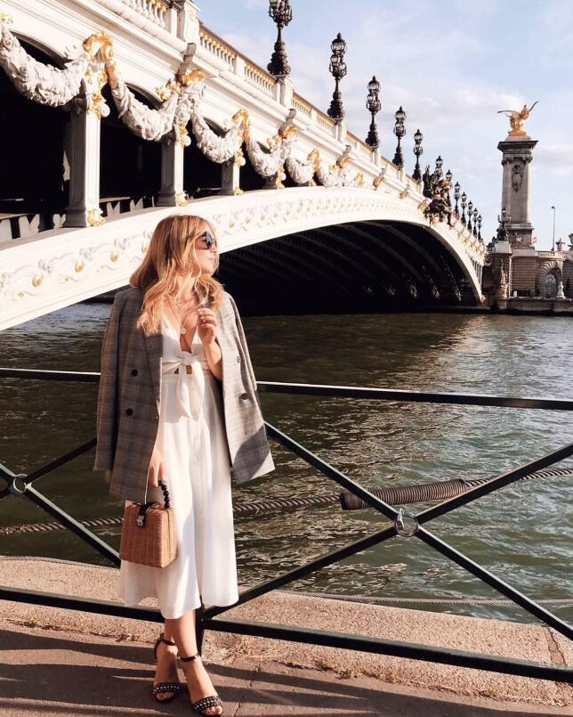 Loooks perfectos para el entretiempo: Americana de cuadros + vestido blanco O L I V I A @Theoliviasway