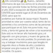 Aitana confirma la cancelación de su gira